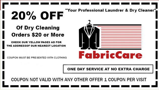 graphic relating to Printable Dry Cleaning Coupons named FabricCare: Discount coupons